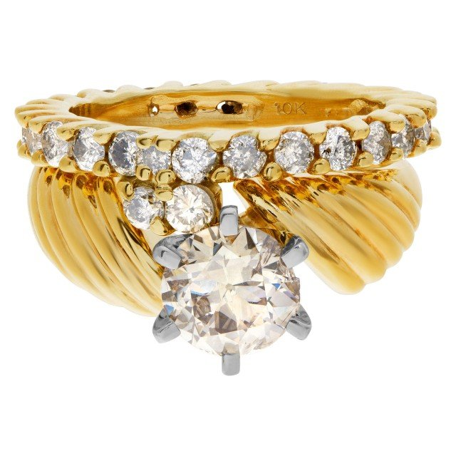 Beautiful Diamond Eternity Band and Ring engagement ring set in 14k and 10k yellow gold. 1.75 carats image 1