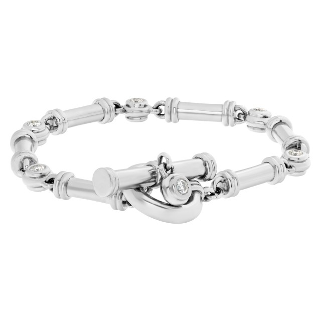 Scott Kay Gorgeous Barrel Link & Diamond Station Platinum Toggle Bracelet with apx. 2 carats image 1