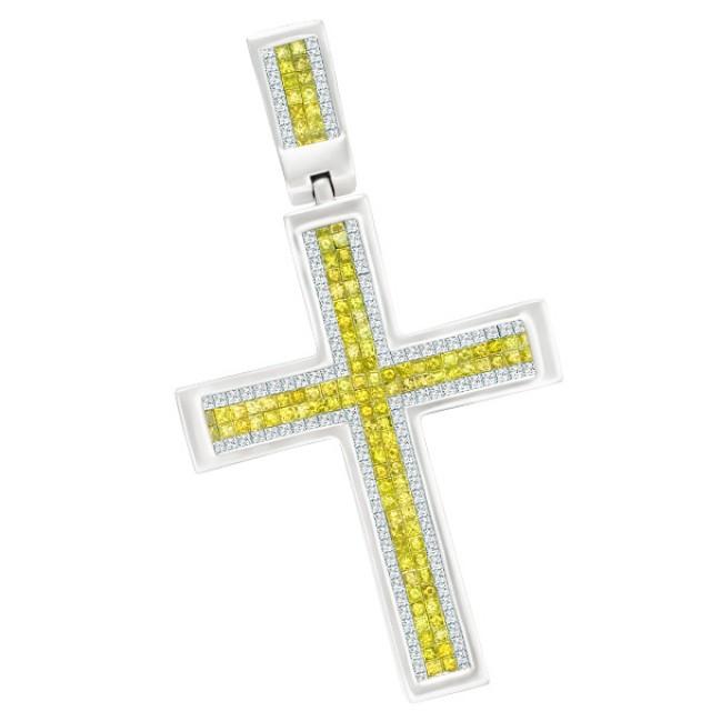 Sunny 14k White Gold Diamond Cross With Princess Cut White And Yellow Diamonds image 1