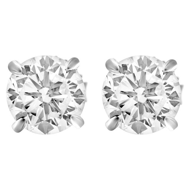 GIA Certified round brilliant diamonds studs 1.31ct (F color, SI1 clarity) & 1.35 ct (F color, VS1 clarity) image 1