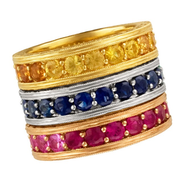 Set of three stackable colorful stones eternity bands. Size 7 image 1