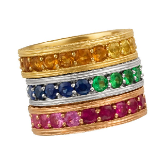 Set of three stackable colorful stones eternity bands. Size 7 image 2
