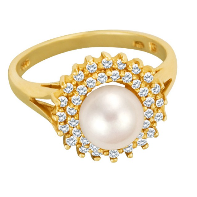 Magnificent Pearl ring in 14k surrounded by 2 rows of diamonds image 1