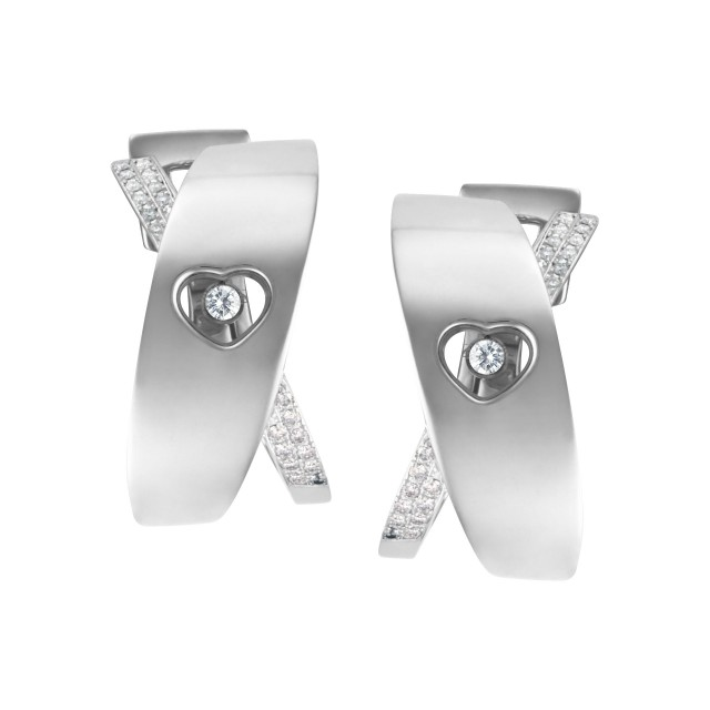 Chopard Happy diamond heart hoop earrings with floating diamond in 18k white gold image 1