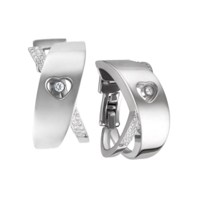Chopard Happy diamond heart hoop earrings with floating diamond in 18k white gold image 2