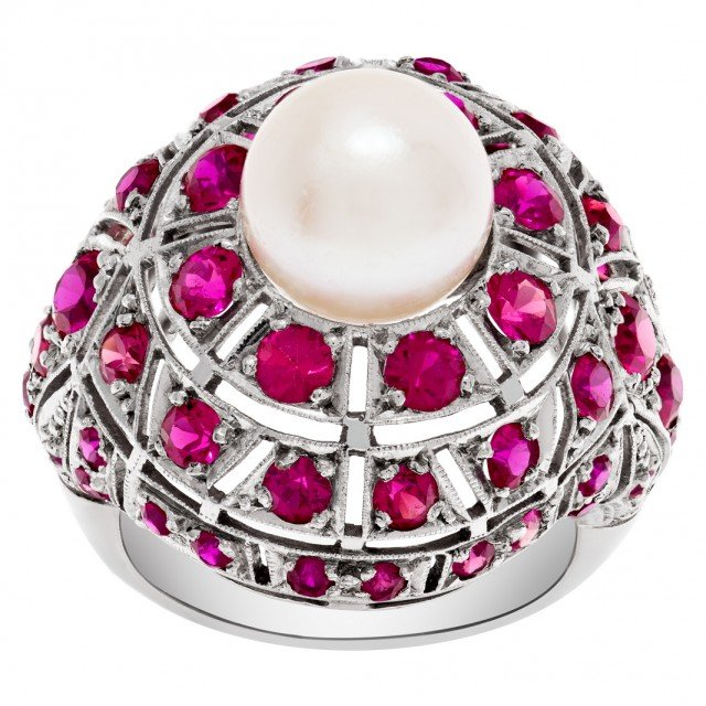 Vintage platinum ruby & pearl ring with app. 1.50 cts in blood red rubies image 1