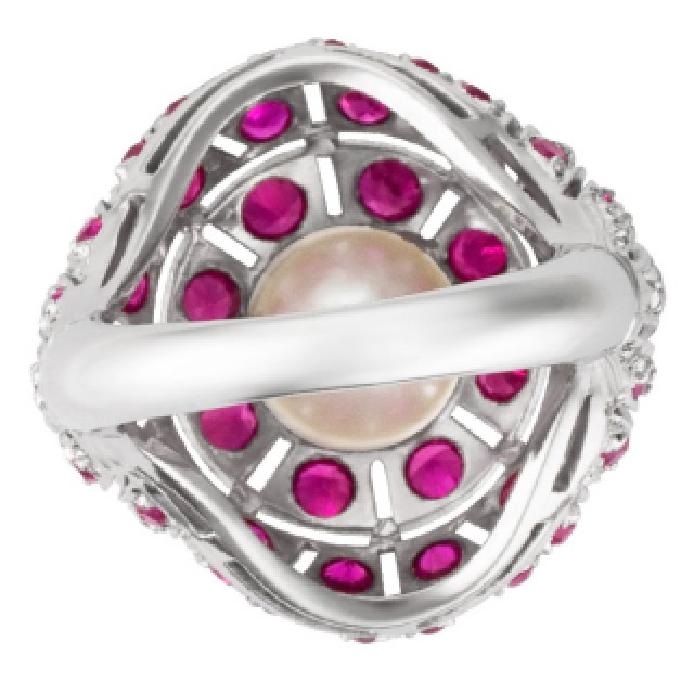 Vintage platinum ruby & pearl ring with app. 1.50 cts in blood red rubies image 5