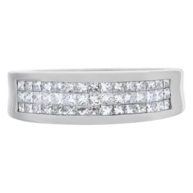 Princess Cut Diamond ring set in 18k white gold. 0.75cts in diamonds. Size 6.25 image 2