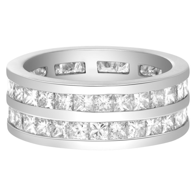 Double row of princess cut channel set diamond ring in 14k. 6cts (H, SI) image 1