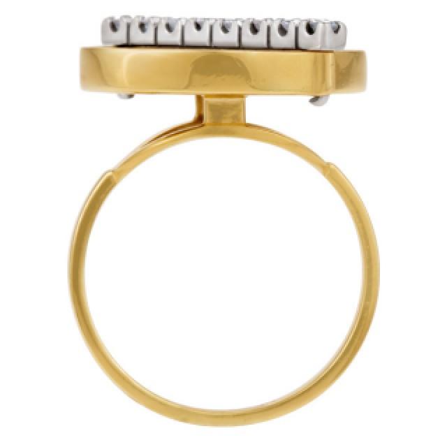 Tiger's Eye & Diamond Ring (App. 0.16 Cts In Diamonds) In 18k image 3