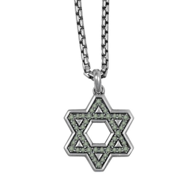 David Yurman Star of David with pave set color change garnet in sterling silver image 1