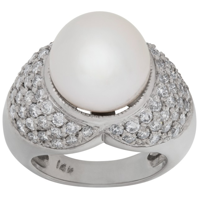 Dainty pave diamond & pearl ring in 14k white gold. 12mm pearl image 1