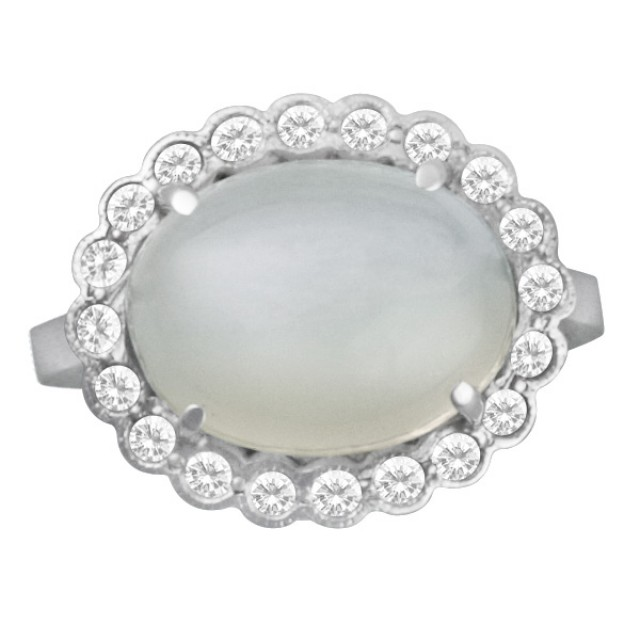 Silver moon ring with pave diamond frame in 18k white gold. Size 5.75 image 1