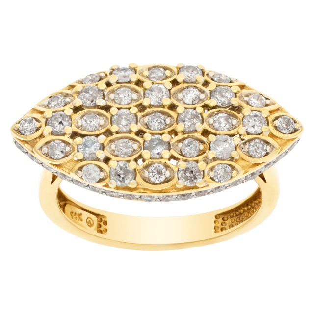 Oval Diamond ring in 14k yellow gold. 0.93 cts in pave set diamonds. Size 7. image 1