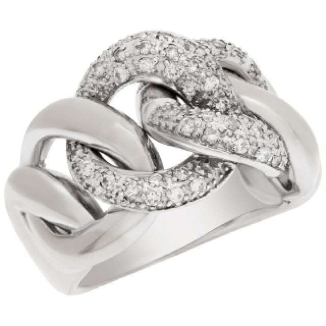 Pave Diamond link ring in 14k white gold. 0.50 carats in diamonds. Size 8 image 3