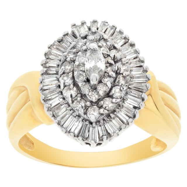 Ballerina diamond ring in 14k gold. 1.42 carats in diamonds. Size 9 image 1