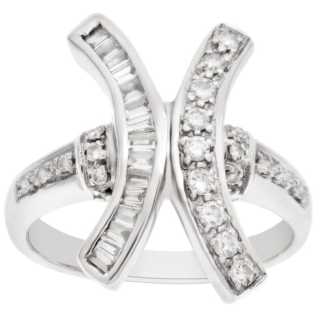 """""""X"""" shaped diamond ring in 18k white gold. 0.30 carats in diamonds. size 6 image 1"""