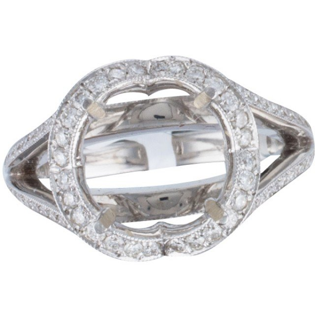 Diamond setting with 1.07 cts in round diamonds in 18k white gold; size 6.5 image 1