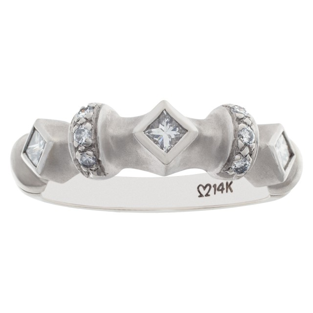Geometric diamond ring set in matte finish 14k white gold. 0.50 carats. Size 7.5 image 1