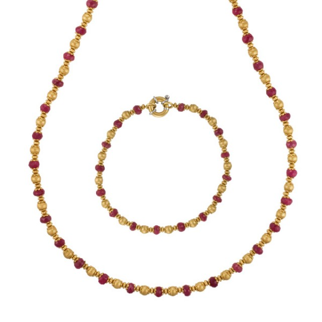18k yellow gold and ruby beaded necklace and bracelet image 1