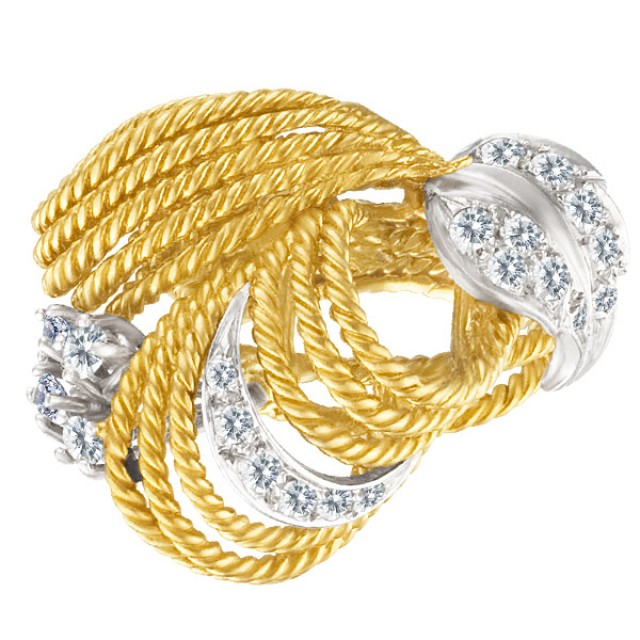Ladies Braided 18k Yellow Gold Ring With A Diamond Leaf Accents image 1