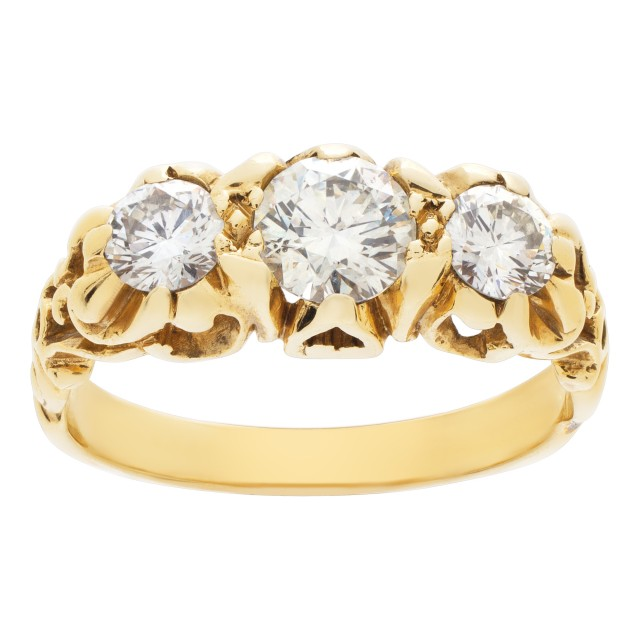"""Past, present, future"" ring in 14k yellow gold. 0.50 carat center diamond (I-J, SI) image 1"