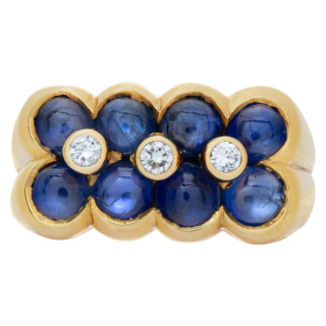 Dainty cabochon sapphire flowers with diamond center ring in 18k yellow gold image 2