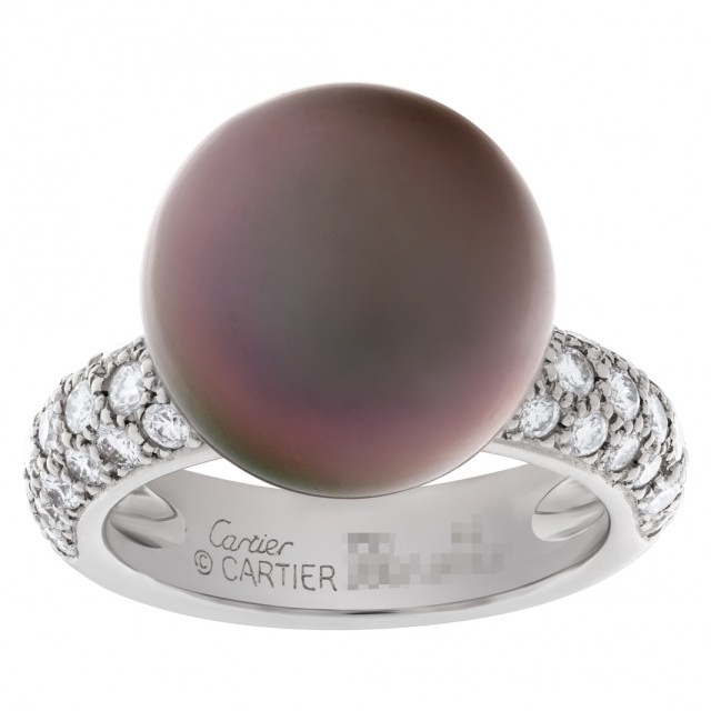 Cartier Tahitian black pearl & diamond ring in 18k white gold. 1.20ct in pave diamonds. image 1