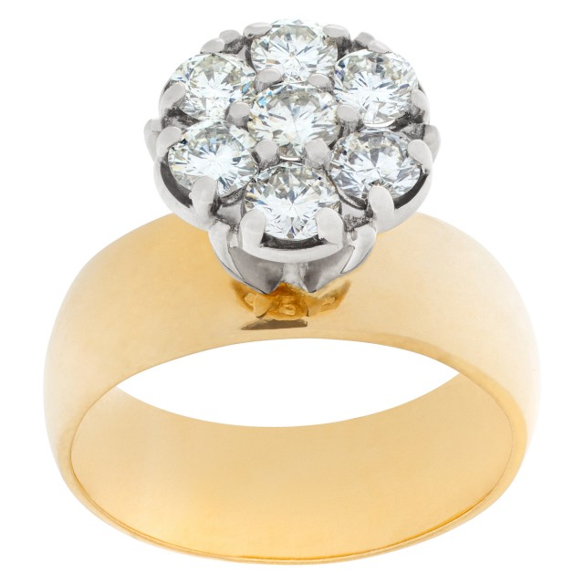 wide band 14k ring with diamond flower cluster image 1