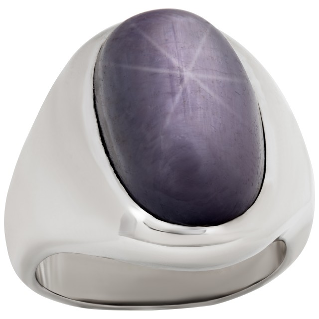 Oval cut Plum star-sapphire ring in 14k white gold image 1