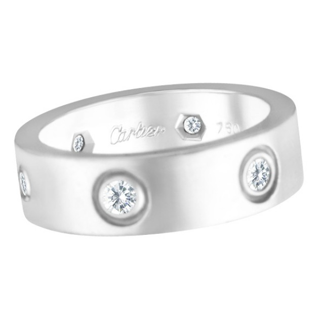 Cartier Love ring with 6 diamonds in 18k white gold, size 51 image 1