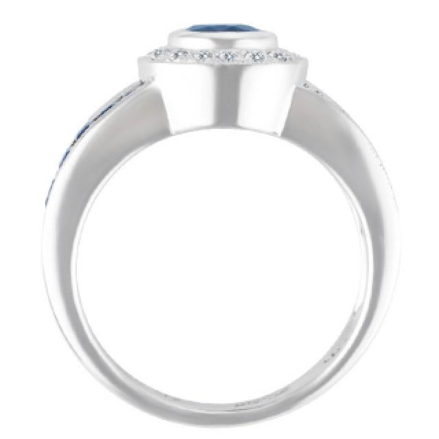Sapphire & diamond ring in 14k white gold image 2