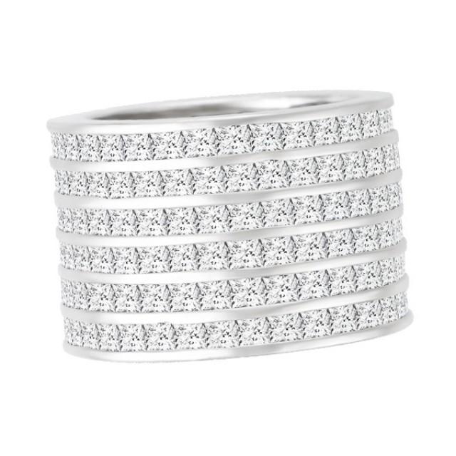 Wide platinum princess cut diamond ring image 1