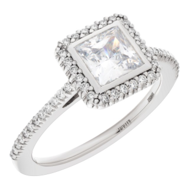 Ritani setting 18k white gold semi-mount 0.24 cts Shown with center CZ not a Diamond image 3