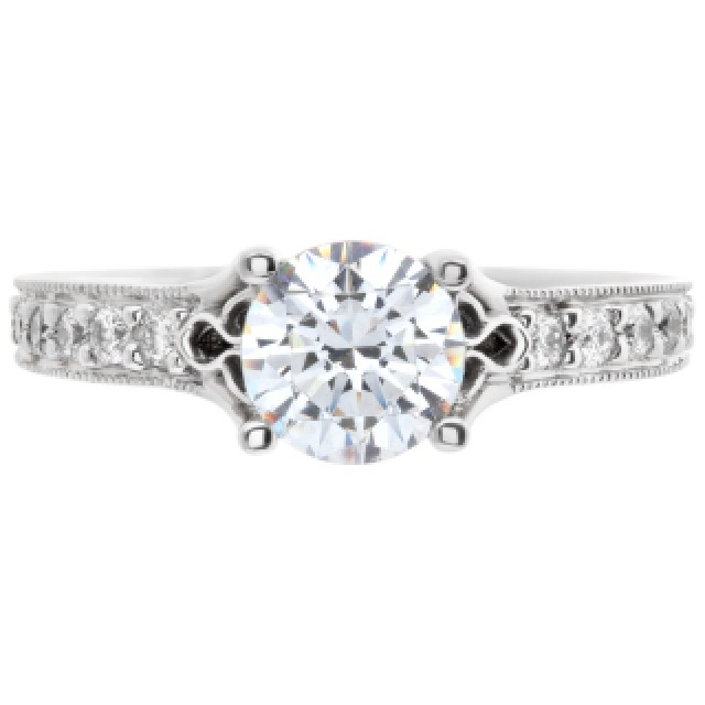 Ritani 18k white gold 0.25 cts total diamond semi mount. Shown with center CZ not a Diamond image 2