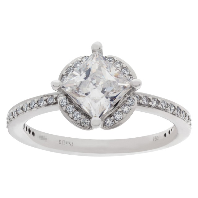 Ritani setting in 18k white gold with 0.35 carats diamonds to hold 1 carat princess cut image 1