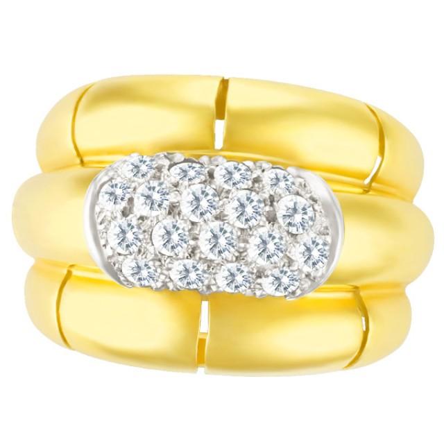 Diamond ring in 18k with pave diamond center image 1