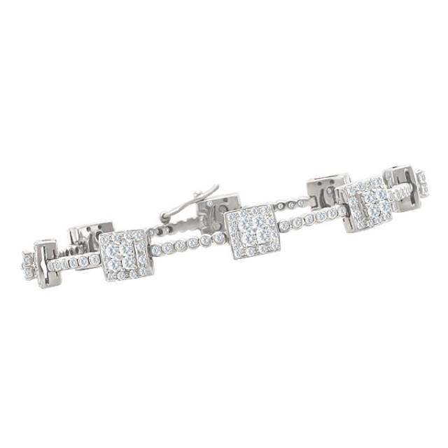 Modern design diamond bracelet in 14k white gold image 1