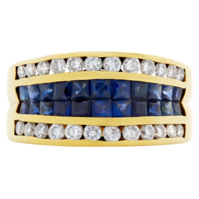 Diamond & sapphire ring in 18k yellow gold. Size 7.25. image 2