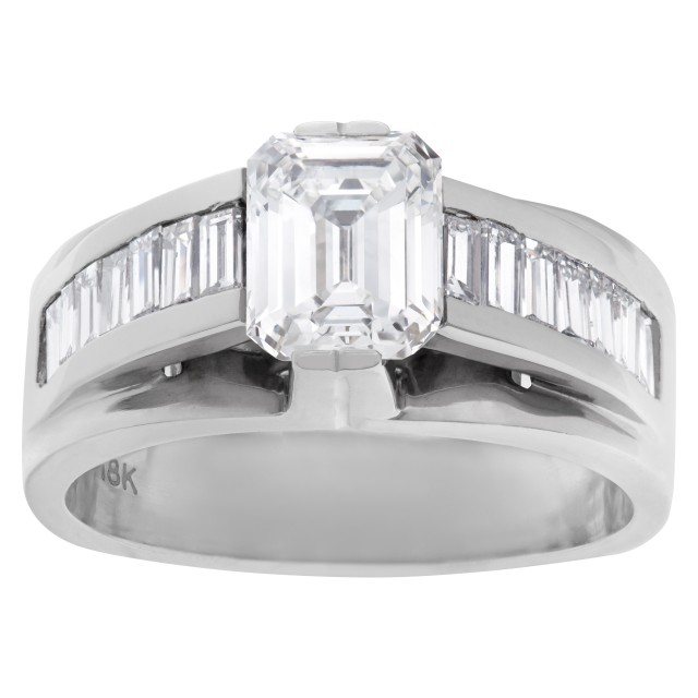GIA certified diamond 1.18 cts (F Color, VS1 Clarity) ring set in 18k white gold. Size 6 image 1