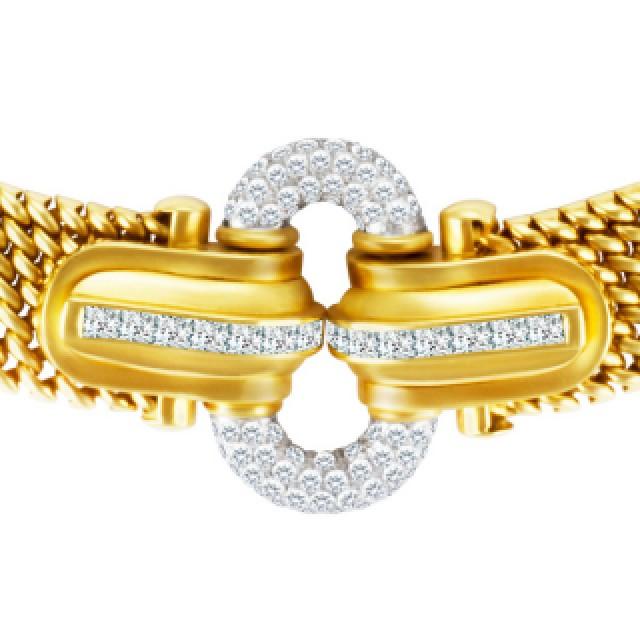 Mesh choker in 18k with diamonds image 2