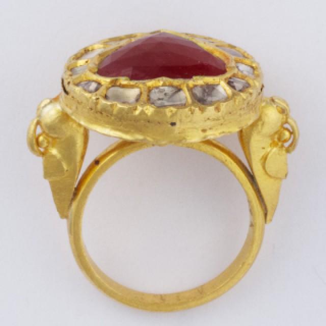 Rose cut ruby & diamond ring in 18k image 1