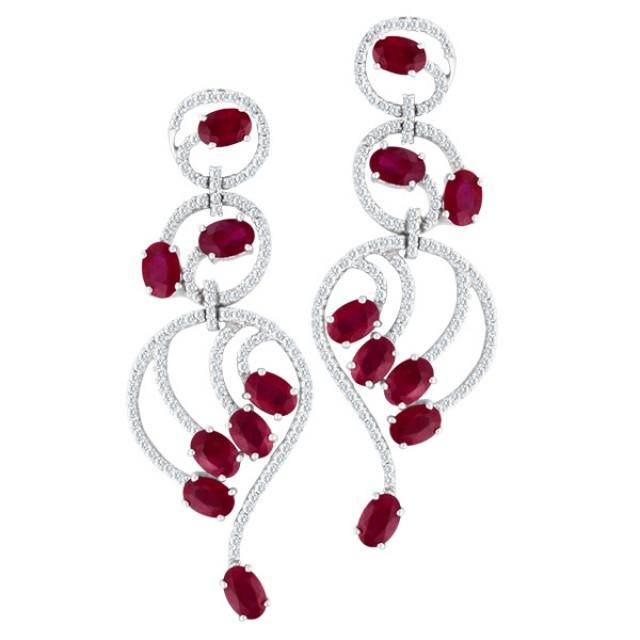 Ruby & diamond earrings in 18k white gold image 1