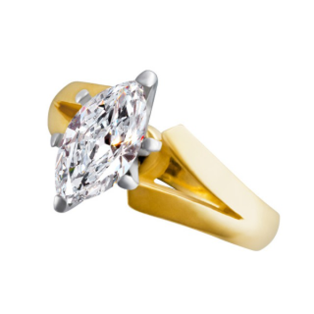 GIA certified marquise diamond 1.51 ct (J Color, SI-2 Clarity) ring set in 18k yellow gold. Size 5 image 2