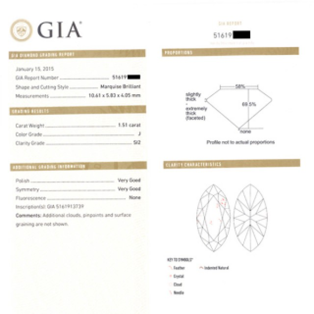 GIA certified marquise diamond 1.51 ct (J Color, SI-2 Clarity) ring set in 18k yellow gold. Size 5 image 4