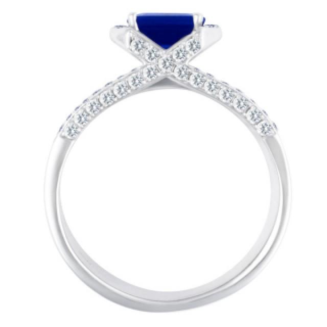 18k white gold ring with tanzanite stone and diamond setting image 2