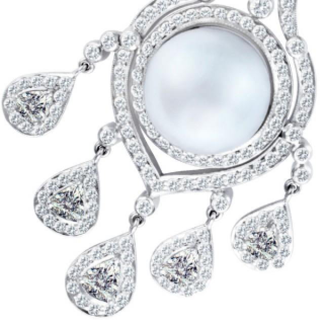 Pearl & diamond earrings in 18k white gold image 1