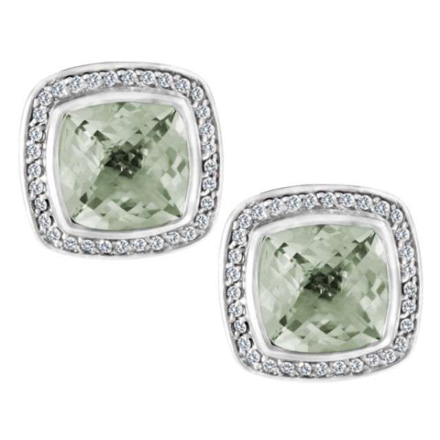 David Yurman Albion earrings in sterling silver with faceted Prasiolite surrounded by diamonds image 1