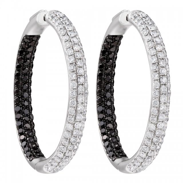 Diamond hoops earrings with black & white diamonds image 1