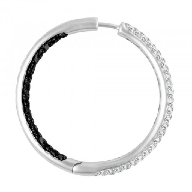 Diamond hoops earrings with black & white diamonds image 3